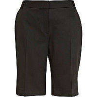 Black smart long trouser shorts