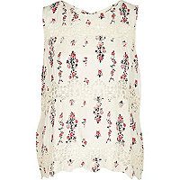 White floral lace insert shell top