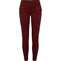 Dark red biker trousers