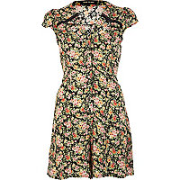 Navy floral print cut out playsuit