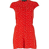 Red heart print cut out playsuit