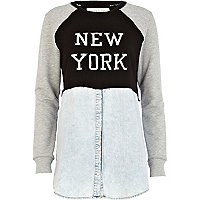 Light wash New York sweat denim shirt