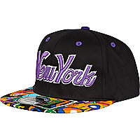 Black New York aztec print peak trucker hat