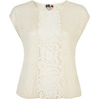 Cream Chelsea Girl lace insert knit top