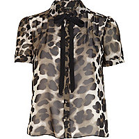 Khaki animal print dolly blouse