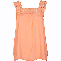 Coral crochet trim swing cami top