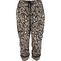 Blue paisley print ruched hem crop trousers
