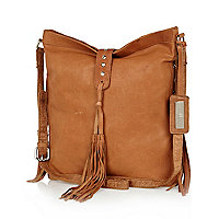 Tan leather tassel messenger bag