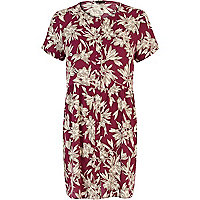 Purple oriental flower print smock dress