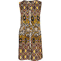 Yellow snake print sleeveless smock dress