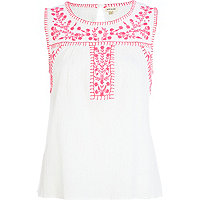 White embroidered sleeveless tank top