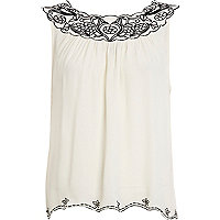 White contrast embroidered swing top