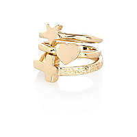 Gold tone charm midi ring pack