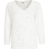 White mesh sequin embellished jumper