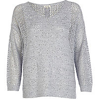 Blue mesh sequin embellished jumper