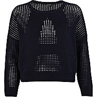 Navy A mesh letter cropped jumper