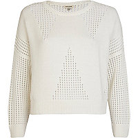 White W mesh letter cropped jumper