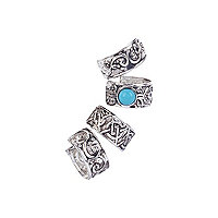 Silver tone tribal patterned ear cuffs pack