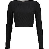 Black textured long sleeve crop top