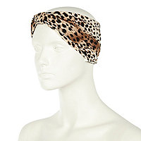 Black leopard print turban head band