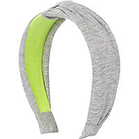 Grey and neon twisted jersey alice band