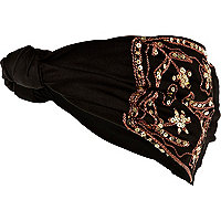 Black embroidered hair band