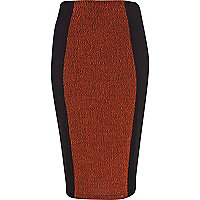 Black boucle contrast panel pencil skirt
