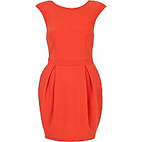 Orange sleeveless low back cocoon dress