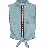 Light wash Chelsea Girl cropped denim shirt