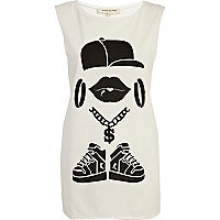 White hip hop bling print tank top