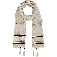 Beige tassel embroidered lightweight scarf