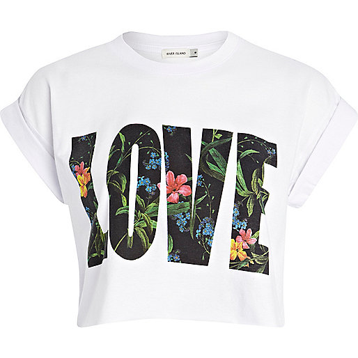 White 'love' print cropped tee