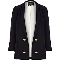 Navy 3/4 sleeve smart blazer