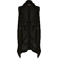 Black lightweight waterfall gilet