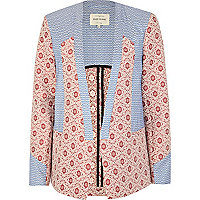 Blue retro tile print colour block blazer