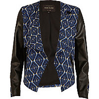 Blue tribal print buckle biker jacket