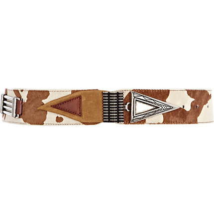 Brown Western print belt