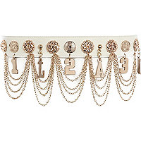 White Glam hanging chain waist belt