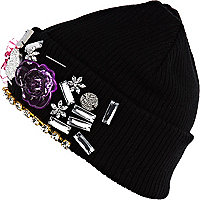 Black embellished beanie hat