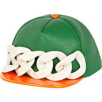 Green oversized curb chain flat cap