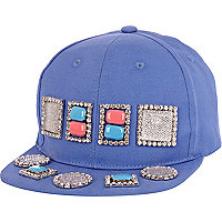 Blue gem stone embellished flat peak cap