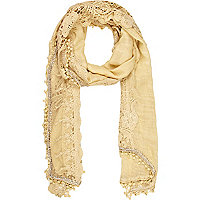 Beige lightweight lace trim scarf