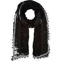 Black beaded crochet trim lightweight scarf