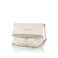 Cream chain trimmed messenger bag