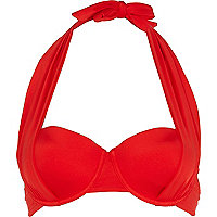 Red drape push-up halter neck bikini top