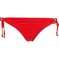 Red tie side bikini bottoms