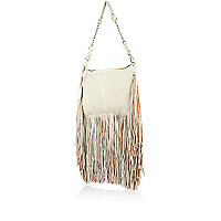 Grey leather fringed cross body bag