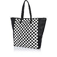 Black and white check leather tote bag