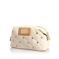 Cream diamante quilted make up bag