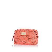 Pink laser cut make up bag